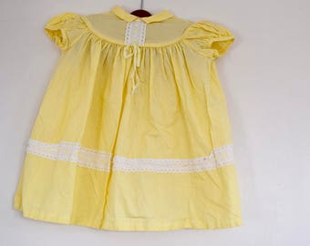 Vintage French Yellow Dress, Vintage Yellow French Summer Dress, Vintage Girls Victorian Dress, Vintage French dress, size 18 months