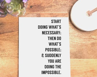 Doing the Impossible, Quote Print, Inspirational Wall Decor, Printable Wall Art, Black and White, Prints, 4x6, 5x7, 8x10, 11x14, 18x24