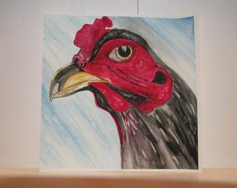 Original Red Rooster Watercolor