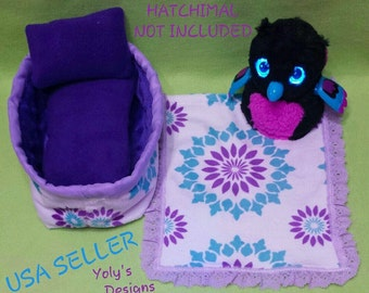 For Hatchimals GLITTER Hatching Toy Egg Handmade Clothes Dress 5 Pcs Purple/Aqua Set, Bed, Mattress, Pillow, Blanket and FREE Gift Surprice