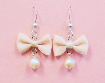 Elegant Sweet Lolita Pearl Drop Bow Earrings - (2 Colors)