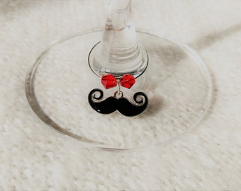 Set of 6 Mustache Wine Glass Charms