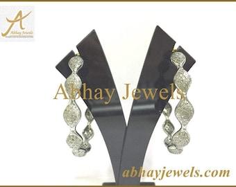 Silver Pave Diamond Hoop Earring