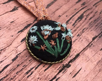 Wildflower embroidered pendant