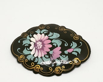 Painted wooden brooch