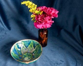 Modernist enamel copper bowl - 1960s – Jewel like colours – Green and Blue - Sunflower