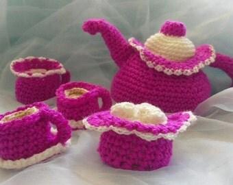 Crochet tea set, deep pink