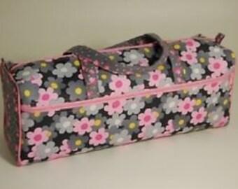 Knitting Craft Storage Bag Grey / Pink Daisy Mae Flower Design