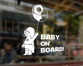 Baby on board Star wars in car Vinyl Stickers Funny Decals Bumper Car Auto Computer Laptop Wall Window Glass Skateboard Snowboard Helmet
