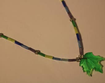 Maple leaf bead necklace