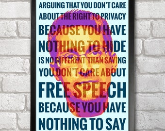 Edward Snowden - Privacy Poster Print A3+ 13 x 19 in - 33 x 48 cm  Buy 2 get 1 FREE