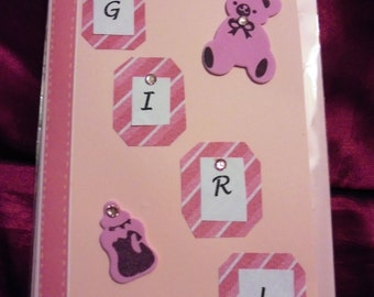 New Baby Girl, Pink Card, New Baby, Hand made with love, FREE POSTAGE