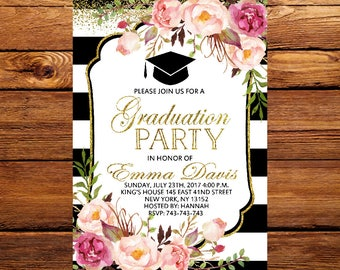 Graduation Invitation,Floral graduation invitation printable,Black and Gold Graduation Invitation,Black and White Stripe,Graduation Invite12