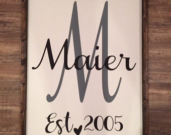 Chalk painted framed wood sign with last name and date