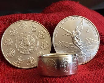 Mexican Libertad .999 Silver Coin Ring