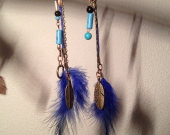 Feathers pearls earrings indian style sold