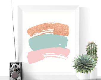 Printable Art | Brushstrokes Abstract Art Printable | Rose Gold | Pink | Blue | Modern Art | Minimalist
