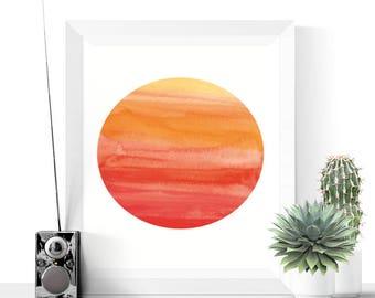 Printable Art | Sunrise Abstract Printable Art | Abstract Art | Modern Art | Minimalist | Watercolor | Circle | Red | Yellow