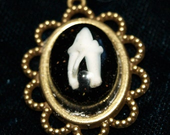 Real Cat Tooth Cabochon In Bronze Cameo Setting Pendant