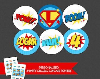 Awesome Superhero Emblem 2'' Cupcake Toppers / Birthday Party Circles - Wham Pow Boom