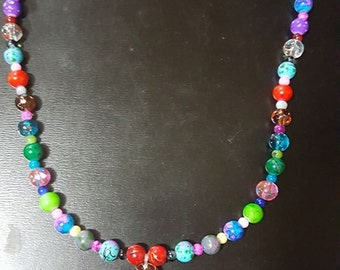 Colorful marble glass bead necklace