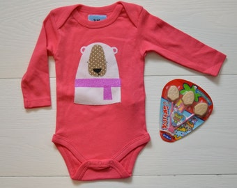 baby girls pink onsie with polar bear applique 3 month with long sleeve