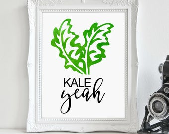 Kitchen Print, Kale Love, Kale Art, Vegetable Art, Kitchen Décor, Digital Print, Instant Download, Printable Art, Wall Art, Gallery Wall