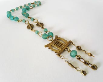 Brass and aqua green Ghana glass bead necklace