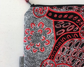Women Dreaming Indigenous Clutch - Iphone Pouch - Coin Purse - Makeup Bag - Aboriginal Design - Indigenous Purse