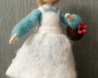 Needle felted waldorf inspired standing doll Girl with a flower. Wool, hand made, home decor