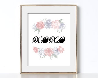 XOXO Poster Digital Download XOXO Printable Art Gift for Roommate Gift for Friend Poster for Roommate Poster for Friend Flower Poster Flower