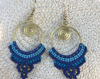 Colorful Earrings Crochet  with Brass Beads,thailand,handmade