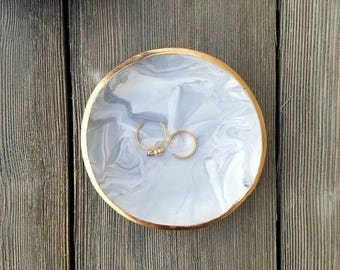 Marble Ring Dish, Catchall, Marble Jewelry Tray, Anniversary gift, Jewelry Holder, Birthday Gift for Her , Bridal shower gift, Trinket tray
