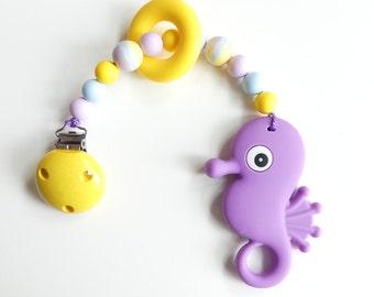 Biting chain silicone seahorse purple