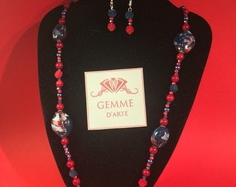 Pearl blue/red necklace with earrings