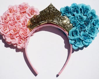 Sleeping Beauty inspired Mickey/Minnie Ears. Pink and Blue Rose Ear with Gold Crown.
