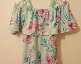 The Bardot leotard in aqua floral -girls leotard- dancewear- floral leotard- bodysuit- dance leotard - girls dancewear