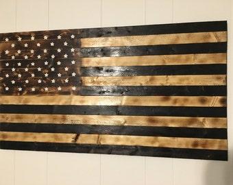 Wood Burned American Flag