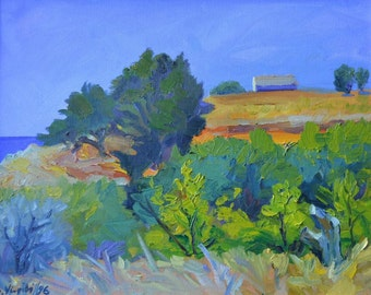 Landscape with yellow roof-oil on canvas