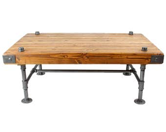 Custom Rustic Wood Industrial Coffee Table Steel Pipes