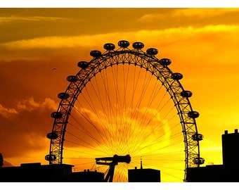 London Eye at Sunset - Photographic Print - UK Landmark - Millennium Wheel - Westminster - London Photography - Photo Art - Silhouette - Red