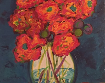 Orange Poppies on Cobalt