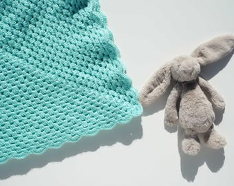 handmade crochet baby blanket / green aqua turquoise mint / baby boy / baby girl / new baby / baby shower gift / crib cot / granny stripe