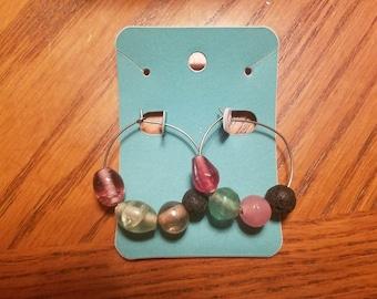 Multi color lava bead hoop earrings