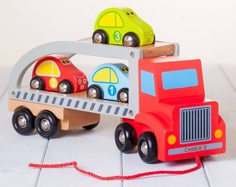 Personalised Wooden Pull Along Transporter Toy