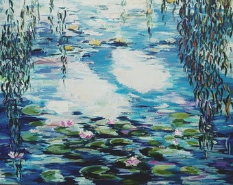 My Monet 40x50 cm Acrylic painting on cotton canvas Freestyle interpretation of Claude Monet's Water lilies pond Country Waterscape Wall Art