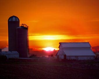 Farmyard Sunset, Central Illinois, USA,  - Canvas Gallery Wrap
