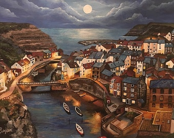Moonlight in Staithes - Hand Finished Fine Art Print