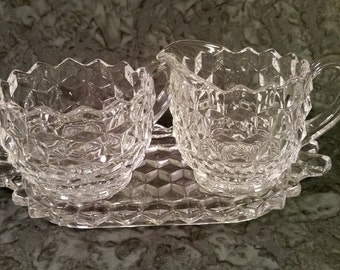 Fostoria American pattern clear glass cream and sugar set with tray