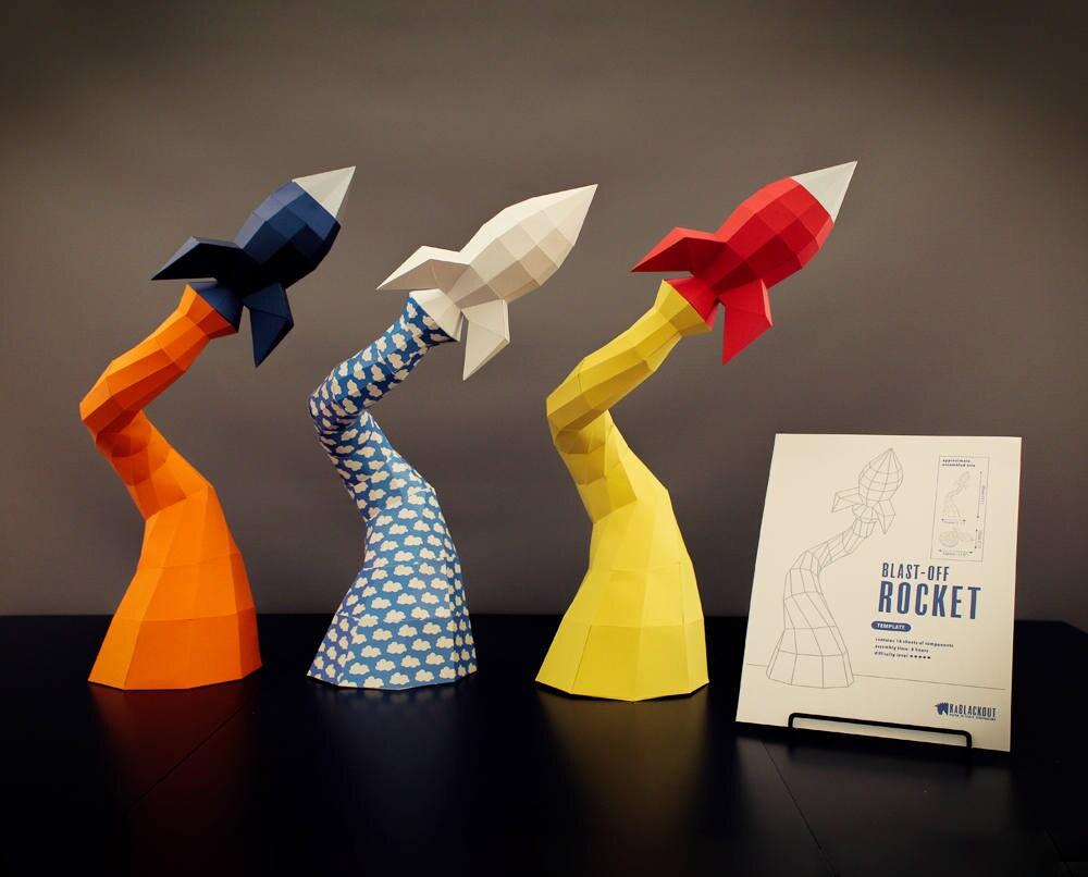Low Poly Papercraft Rocket